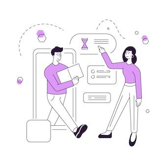Ilustracja wektorowa klient płci żeńskiej spotkanie kurier z pudełkiem przybywających w czasie po złożeniu zamówienia w aplikacji online na smartfonie