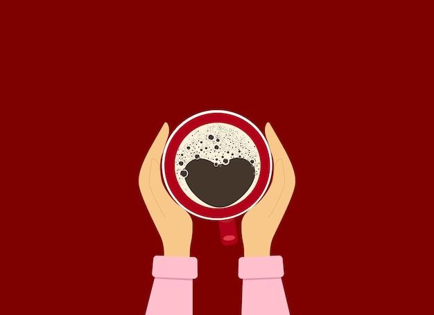 Ilustracja wektorowa kobiece ręce trzymając czerwoną filiżankę kawy. widok z góry. pianka w kształcie serca na kawie