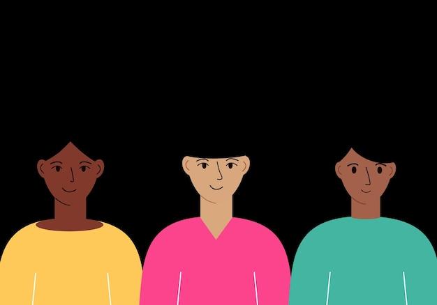 Ilustracja wektorowa kobiet o innym kolorze skóry