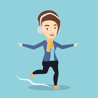 Ilustracja wektorowa kobieta na łyżwach.