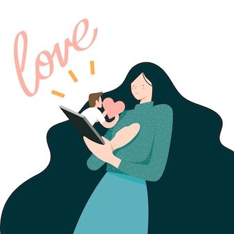 Ilustracja wektorowa, kobieta otrzymuje wiadomość miłość na telefon komórkowy