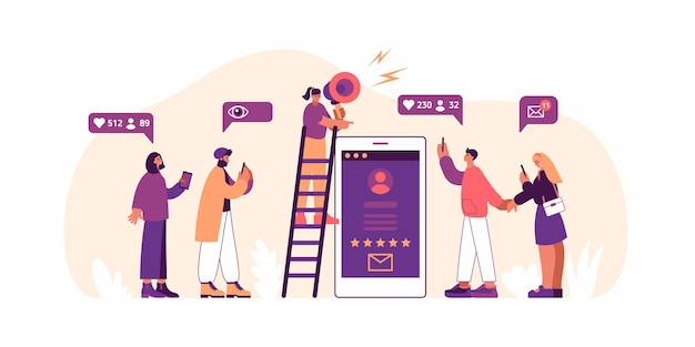 Ilustracja wektorowa kobiety stojącej na drabinie w pobliżu smartfona i używając głośnika do rozmowy z obserwującymi podczas kampanii reklamowej w mediach społecznościowych