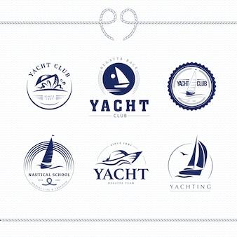 Ilustracja wektorowa kolekcja logo klubu jachtowego.