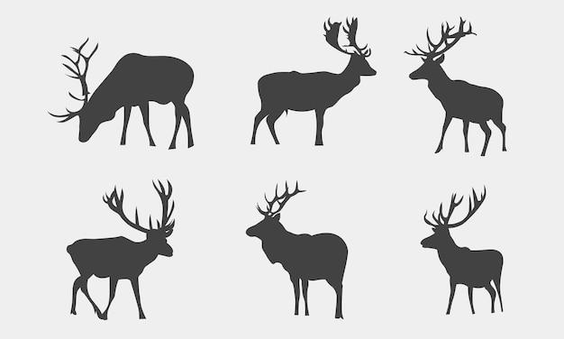 Ilustracja wektorowa kolekcji sylwetki zwierząt jelenia