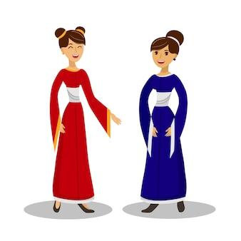Ilustracja wektorowa kolor azjatyckich dziewcząt konwersacji