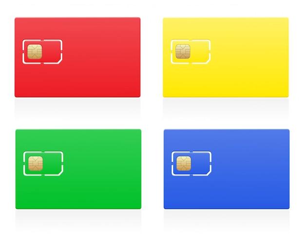 Ilustracja wektorowa kolor karty sim