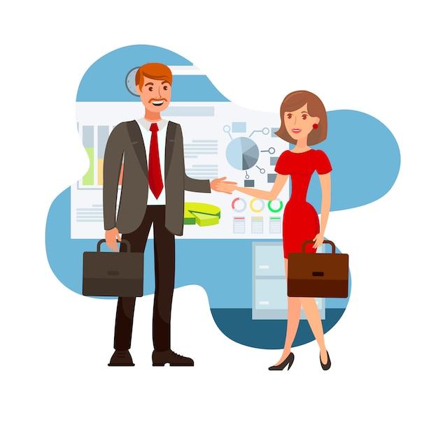 Ilustracja wektorowa kolor negocjacji biznesowych
