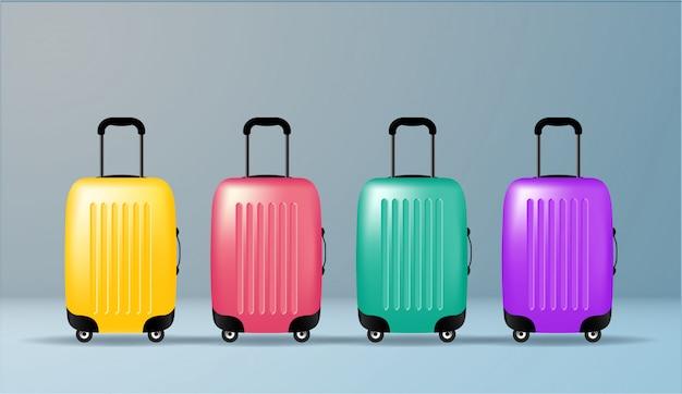 Ilustracja wektorowa kolor plastikowej torby podróżnej. obiekt. czas letni, wakacje