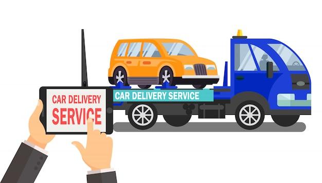 Ilustracja wektorowa kolor usługi dostawy samochodu
