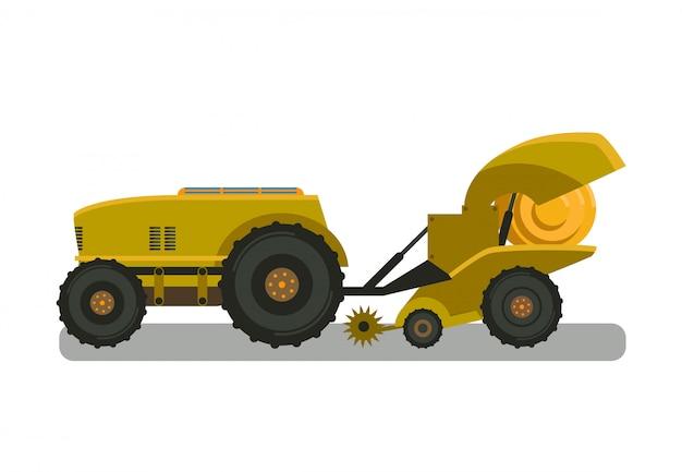 Ilustracja wektorowa kolor żółty maszyny siano baler