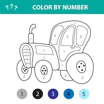 Ilustracja wektorowa kolorowanka ciągnika, transport, lekcje dla dzieci, rysowanie, kolorowanie według numerów