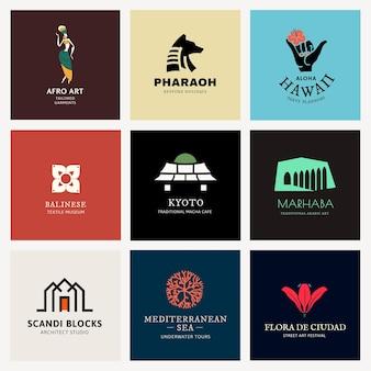 Ilustracja wektorowa kolorowe logo dla zestawu marki
