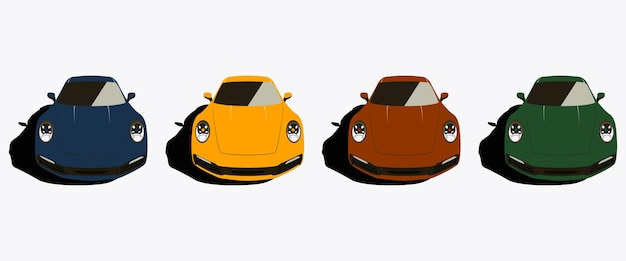 Ilustracja wektorowa kolorowego samochodu sportowego