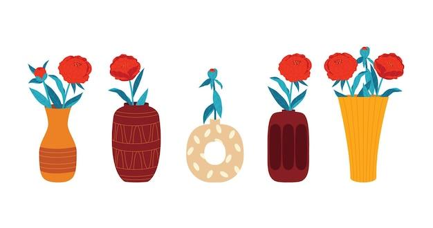 Ilustracja wektorowa kolorowych w stylu płaski. kwiaty w wazonie na białym tle. zestaw piwonii w wazonach o różnych kształtach.