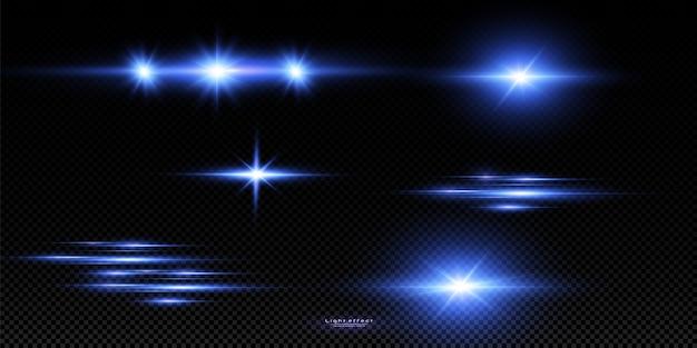 Ilustracja wektorowa koloru niebieskiego. zestaw efektów świetlnych. błyski i odblaski. jasne promienie światła. świecące linie.