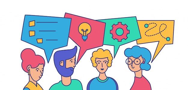 Ilustracja wektorowa komunikacji koledzy