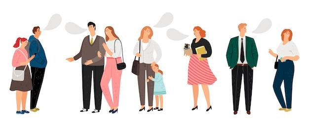 Ilustracja wektorowa komunikacji. płascy ludzie rozmawiają i się śmieją. wektor znaków z dziećmi i zwierzętami