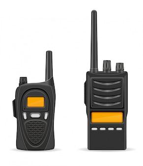 Ilustracja wektorowa komunikacji radiowej walkie-talkie