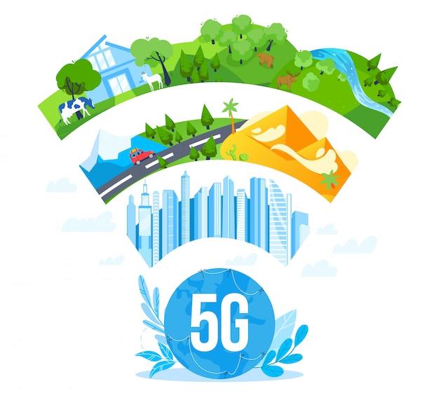 Ilustracja wektorowa komunikacji sieci internetowej 5g.