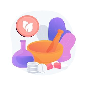 Ilustracja wektorowa koncepcja abstrakcyjna homeopatii. medycyna homeopatyczna, leczenie alternatywne, podejście holistyczne, metoda homeopatii, lek naturalny, abstrakcyjna metafora usług opieki zdrowotnej w dziedzinie medycyny naturalnej.