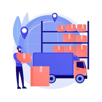 Ilustracja wektorowa koncepcja abstrakcyjna magazynu tranzytowego. magazyn celny, transfer towarów, działalność transportowa, terminal wysyłkowy, logistyka międzynarodowa, abstrakcyjna metafora importu i eksportu.