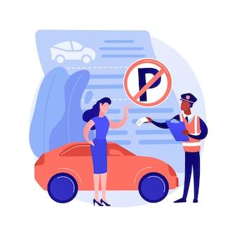 Ilustracja wektorowa koncepcja abstrakcyjna mandatów parkingowych. zakaz parkowania, ograniczone miejsce, mandat karny, naruszenie zasad, mandat, termin płatności online, abstrakcyjna metafora zaparkowanego pojazdu.