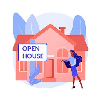 Ilustracja wektorowa koncepcja abstrakcyjna otwartego domu. nieruchomość otwarta do wglądu, dom na sprzedaż, obsługa nieruchomości, potencjalny nabywca, przejście, inscenizacja domu, abstrakcyjna metafora planu piętra.
