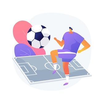 Ilustracja wektorowa koncepcja abstrakcyjna piłki nożnej. drużyna piłkarska, turniej, kibic klubu piłkarskiego, sprzęt sportowy, zakłady na mistrzostwa świata, oglądanie na żywo, premiera abstrakcyjnej metafory pucharu ligi.