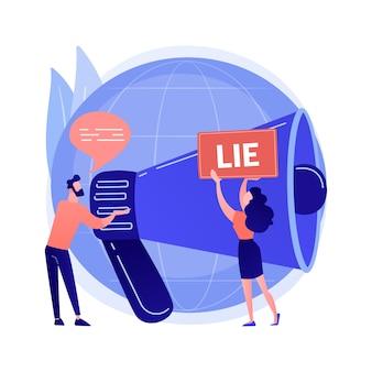 Ilustracja wektorowa koncepcja abstrakcyjna post-prawdy. dyskurs postprawdy, współczesna filozofia, alternatywne fakty, fałszywe wiadomości, cyber propaganda, ekstremizm polityczny, abstrakcyjna metafora emocji i przekonań.