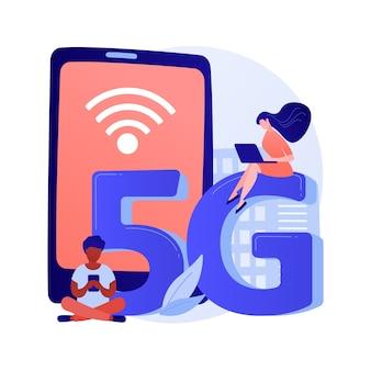 Ilustracja wektorowa koncepcja abstrakcyjna sieci 5g telefonów komórkowych. komunikacja przez telefon komórkowy, nowoczesny smartfon, technologia 5g, szybkie łącze internetowe, abstrakcyjna metafora dostawcy zasięgu sieci.