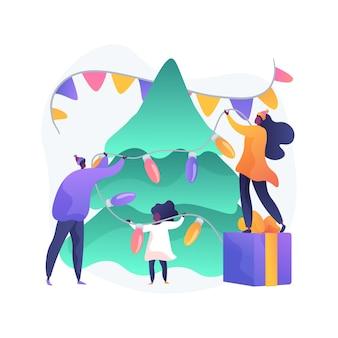 Ilustracja wektorowa koncepcja abstrakcyjna uroczystości wakacje. życzenia świąteczne, tradycja rodzinnych uroczystości, wydarzenie sezonowe, przyjęcie z przyjaciółmi, dekoracja domu, wspólna zabawa abstrakcyjna metafora.
