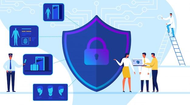 Ilustracja wektorowa koncepcja bezpieczeństwa technologii.