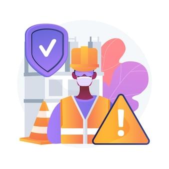 Ilustracja wektorowa koncepcja bezpieczeństwa w miejscu pracy. ocena miejsca pracy, bezpieczne warunki pracy, higiena pracy, służba bezpieczeństwa pracowników, abstrakcyjna metafora chronionego środowiska pracy.
