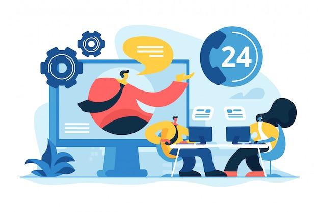 Ilustracja wektorowa koncepcja centrum kontaktowe