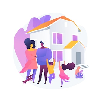 Ilustracja wektorowa koncepcja dom jednorodzinny. dom jednorodzinny wolnostojący, dom jednorodzinny, dom jednorodzinny, kamienica, rezydencja prywatna, kredyt hipoteczny, abstrakcyjna metafora wpłaty zaliczki.