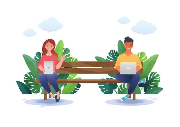 Ilustracja wektorowa koncepcja inteligentnej pracy młodych ludzi siedzących na ławce w parku przy użyciu inteligentnych urządzeń
