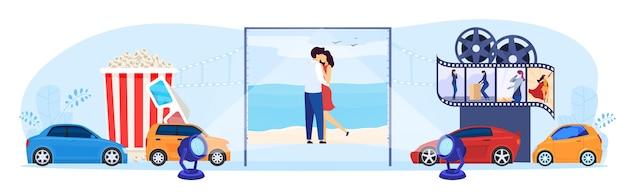 Ilustracja wektorowa koncepcja kina samochodowego parking. kreskówka płaskie małe kierowca ludzie siedzący w samochodach, oglądający filmy na dużym ekranie festiwalu w plenerowym kinie auto na świeżym powietrzu