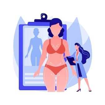 Ilustracja wektorowa koncepcja konturowania ciała. nieoperacyjna plastyczna korekcja ciała, technologia konturowania, redukcja, zabieg estetyczny, nieinwazyjny zabieg, abstrakcyjna metafora.