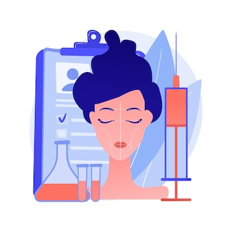 Ilustracja wektorowa koncepcja konturowania twarzy. rzeźbienie twarzy, estetyczny zabieg kosmetyczny, konturowanie twarzy medyczne, urządzenie do korekcji wyszczuplenia, abstrakcyjna metafora chirurgii plastycznej.