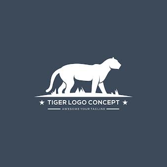 Ilustracja wektorowa koncepcja logo rocznika tygrysa