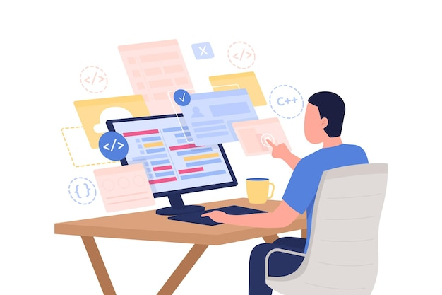 Ilustracja wektorowa koncepcja płaski kurs programowania online. informatyk. mężczyzna programista postać z kreskówki 2d do projektowania stron internetowych. profesjonalne szkolenie poprzez kreatywny pomysł w internecie