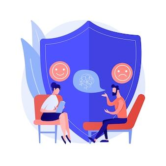 Ilustracja wektorowa koncepcja poradnictwa depresji. profesjonalna konsultacja lekarska, objawy depresji, leczenie, poradnictwo psychiatry, abstrakcyjna metafora stanu zdrowia psychicznego.