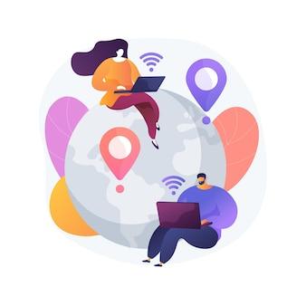 Ilustracja wektorowa koncepcja pracy na odległość. biuro na odległość, praca z domu, możliwość pracy zdalnej, technologia komunikacji, spotkanie zespołu online, abstrakcyjna metafora cyfrowego nomady.