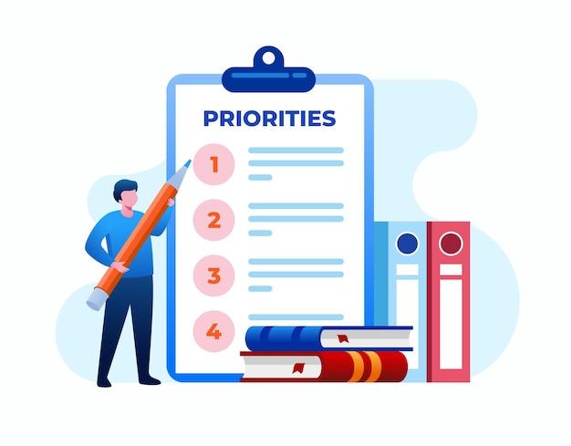 Ilustracja wektorowa koncepcja priorytetu. ważny program planowania. płaska ilustracja wektorowa