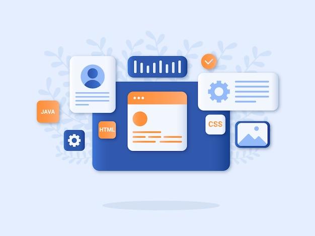 Ilustracja wektorowa koncepcja projektowania stron internetowych