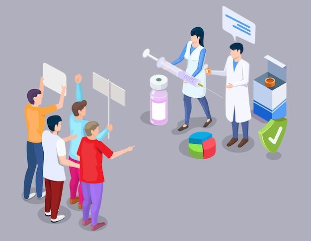 Ilustracja wektorowa koncepcja protestu antyszczepionkowego w stylu d izometrycznym ruch antyszczepionkowy ludzie prote...