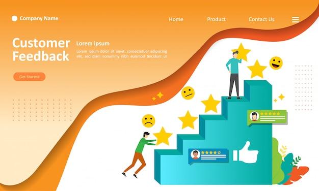 Ilustracja wektorowa koncepcja przeglądu opinii
