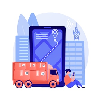 Ilustracja wektorowa koncepcja śledzenia usługi pocztowej. monitorowanie paczek, śledzenie i śledzenie przesyłki, numer śledzenia paczki, przesyłka ekspresowa, zakupy online, abstrakcyjna metafora skrzynki pocztowej.