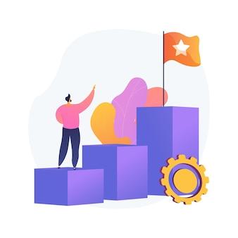 Ilustracja wektorowa koncepcja streszczenie ambicja. ambicja biznesowa, determinacja, stawianie sobie wielkich celów, robienie szybkiej kariery, pewność siebie, zdobywanie tego, czego chcesz, chęć sukcesu w abstrakcyjnej metaforze.