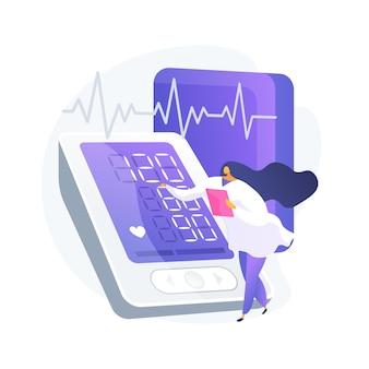 Ilustracja wektorowa koncepcja streszczenie badania ciśnienia krwi. placówka farmaceutyczna, samokontrola ciśnienia krwi, badanie kliniczne, opieka zdrowotna, abstrakcyjna metafora programu badań.